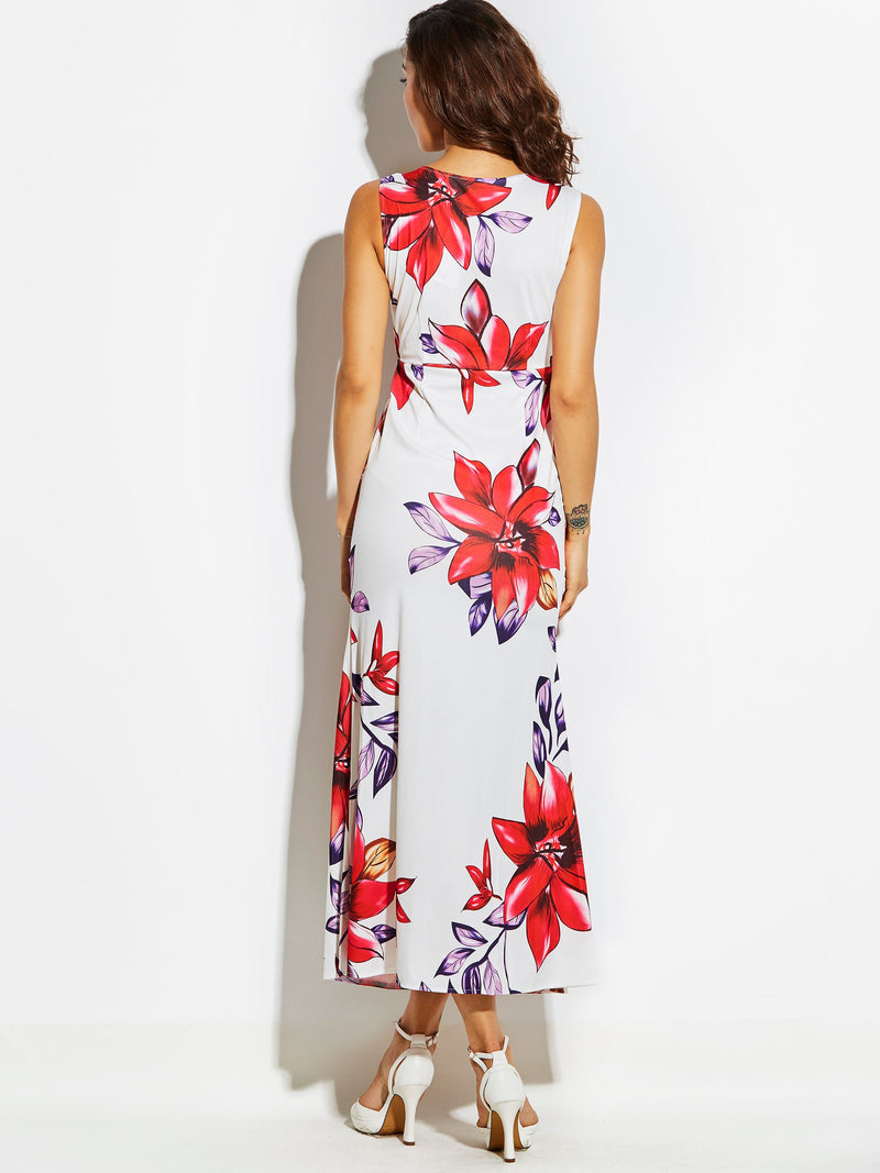 Size XL Print Ankle-Length Sleeveless Floral Zipper Dress