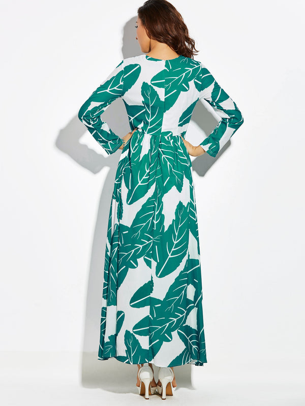 Print Round Neck Long Sleeve Plant Expansion Dress