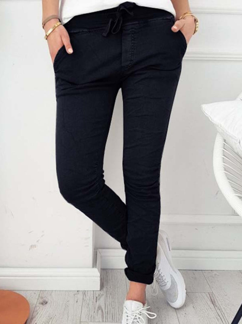 Size M Patchwork Plain Skinny Pencil Pants Full Length Casual Pants