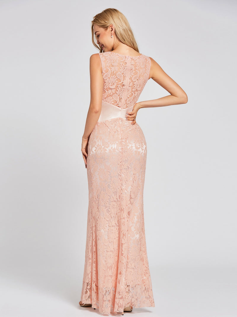Scoop Pink Trumpet/Mermaid Sleeveless Evening Party Dress