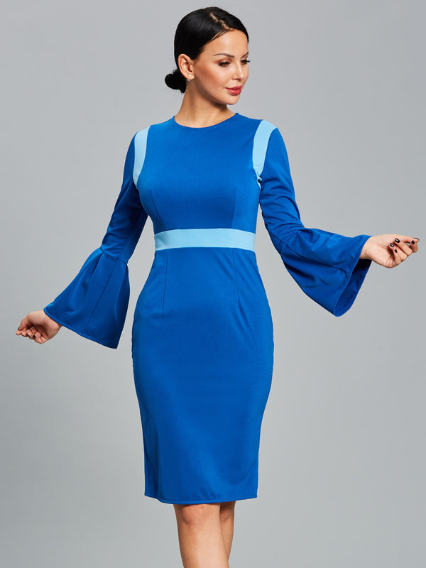 Size M L Long Sleeve Patchwork Round Neck Flare Sleeve Color Block Dress
