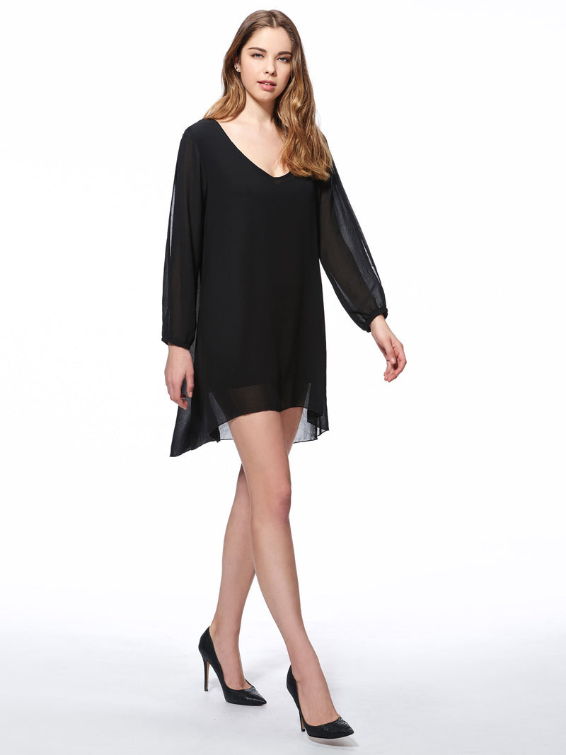 Size M L Hollow Long Sleeve Above Knee Plain Asymmetrical Casual Dress