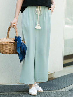 Lace-Up Loose Plain Ankle Length Wide Legs Casual Pants