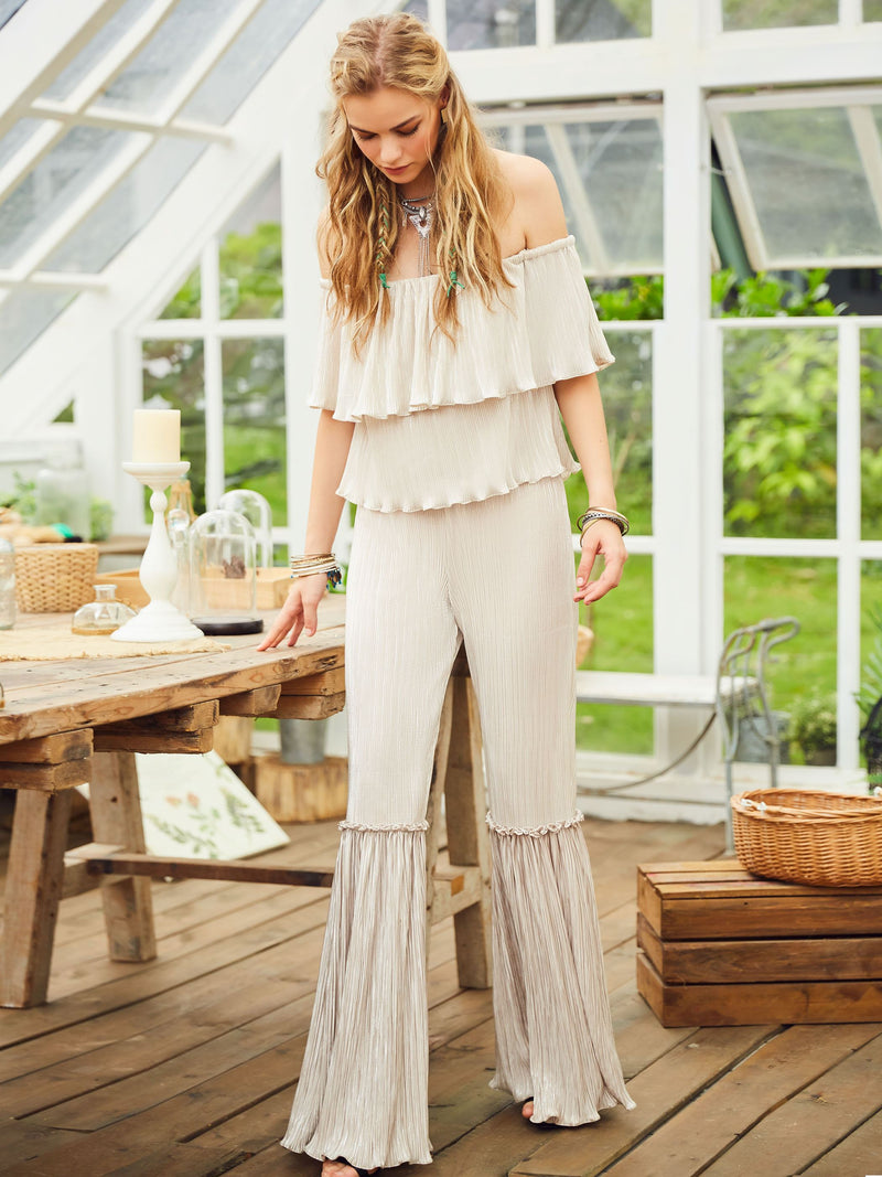 Size M Plain Full Length Falbala Slim Bellbottoms Jumpsuit