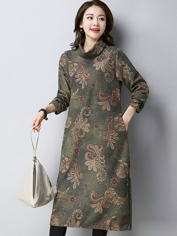 Plus Size 2XL Long Sleeve Print Mid-Calf Regular Spring Dress