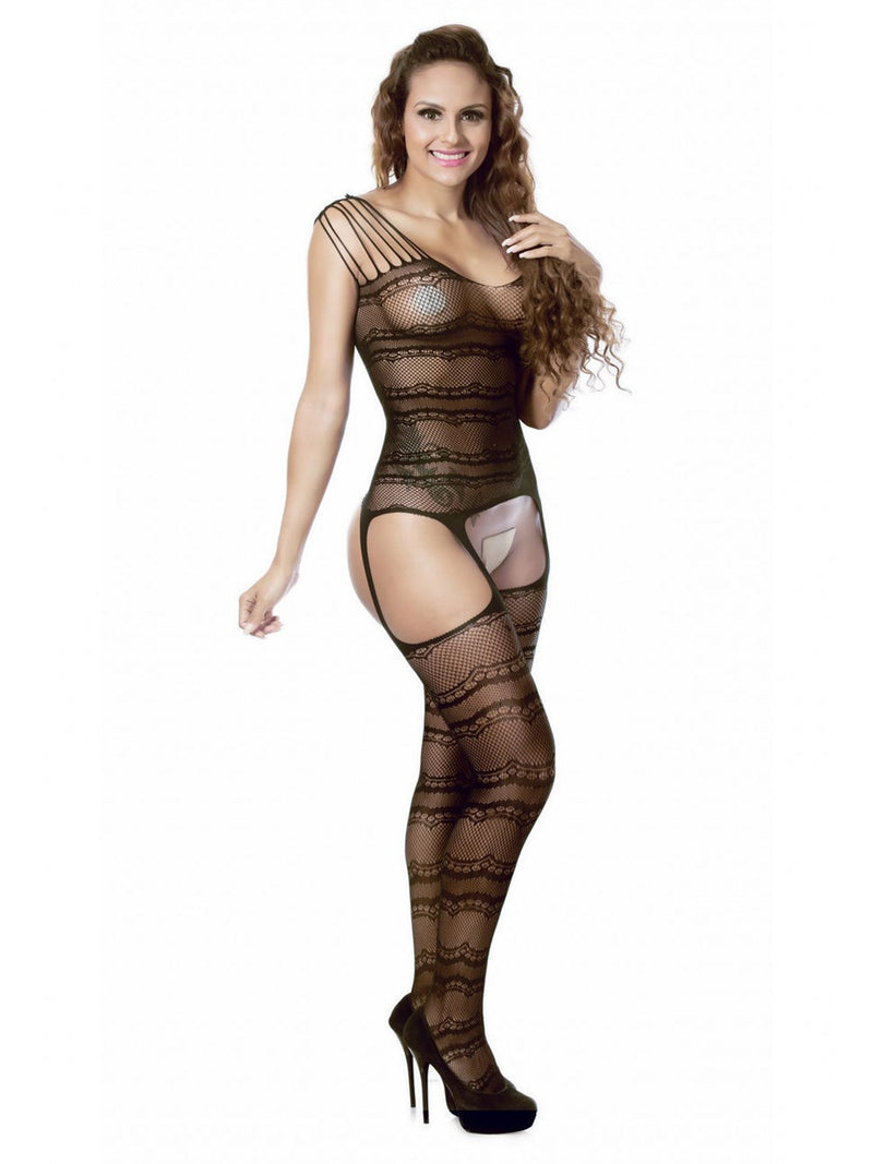 Geometric Lace Crotchless Spandex Tight Wrap Teddies & Bodysuits