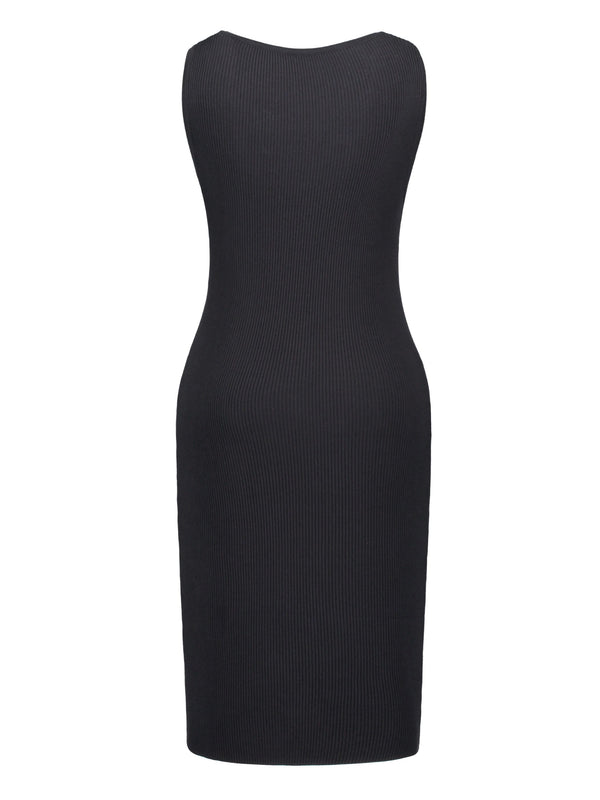 Size L Sleeveless Knee-Length Oblique Collar Bodycon Pullover Dress