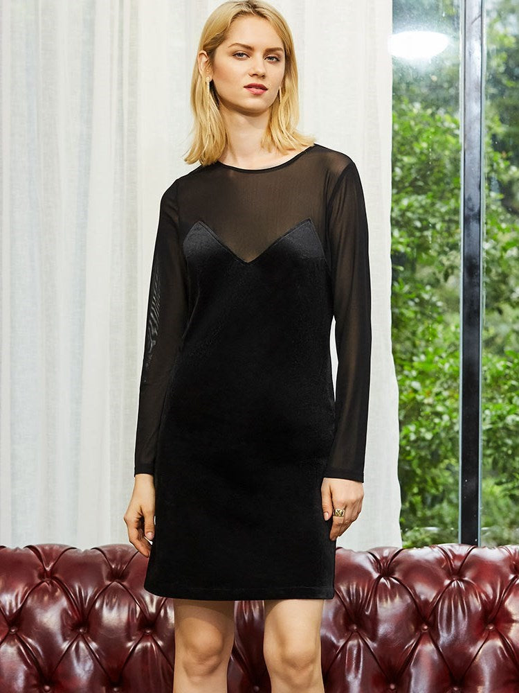 Long Sleeve Knee-Length Round Neck Zipper A-Line Dress