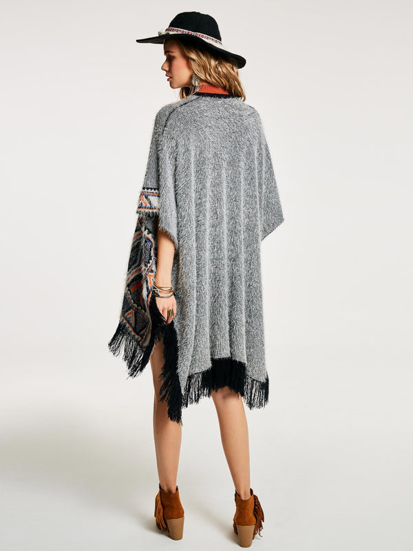 Acrylic Geometric Ethnic Winter Cape