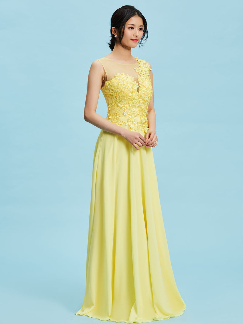 Scoop A-Line Yellow Sleeveless Wedding Petite Party Dress
