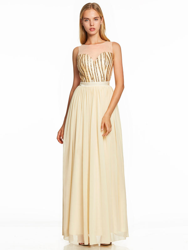 Sequins Yellow A-Line Floor-Length Evening Party Dress