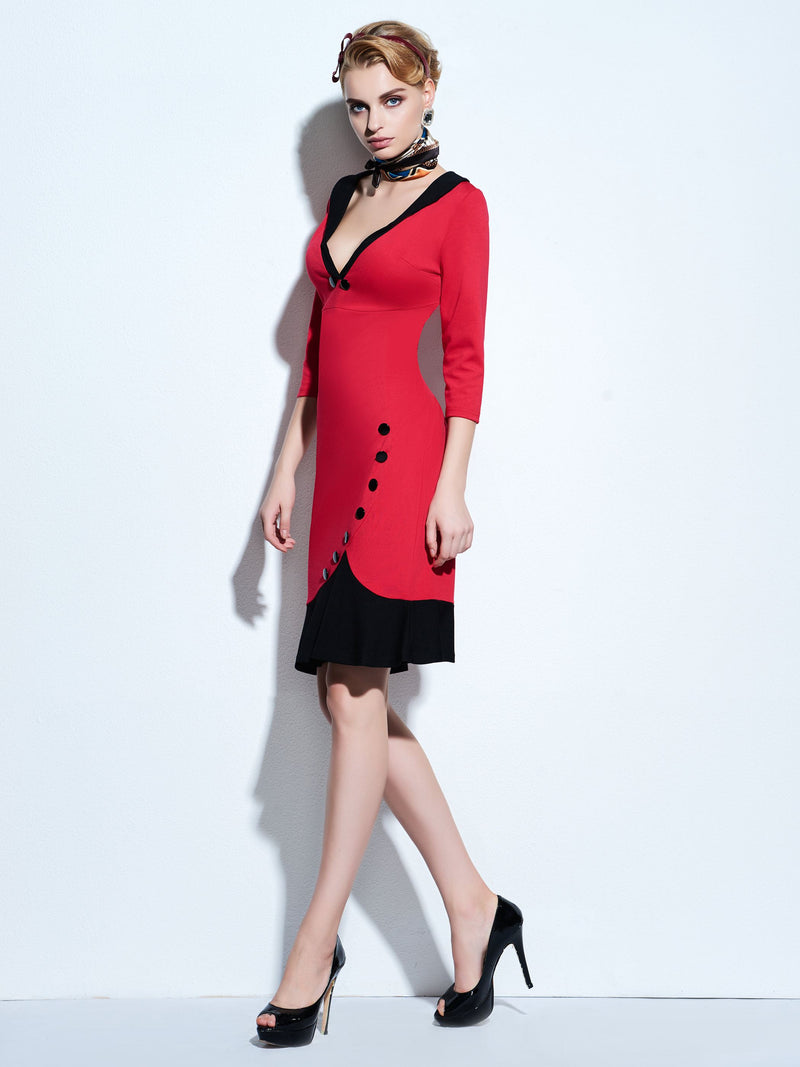 Mid-Calf Button Three-Quarter Sleeve Pullover Fall Dress