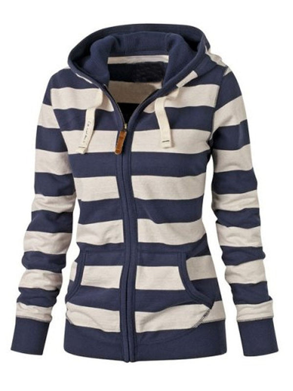 Size S L Zipper Regular Stripe Standard Hooded Hoodie