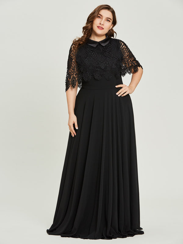 Lace A-Line Black Half Sleeves Evening Party Dress