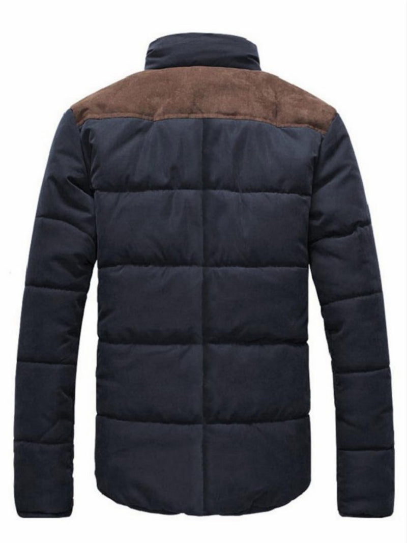 Size M Standard Pocket Color Block Casual Zipper Down Jacket