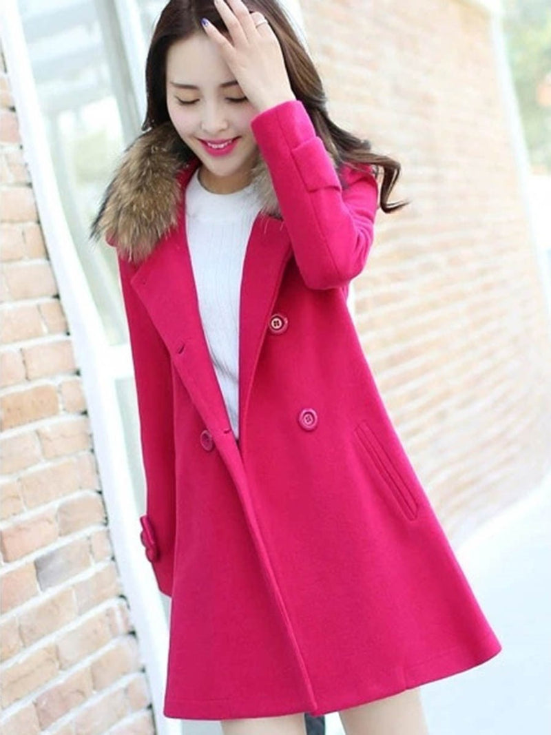 Size L Straight Double-Breasted Winter Mid-Length Overcoat