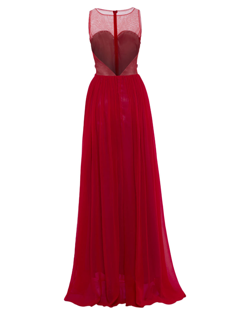 Embroidery A-Line Scoop Floor-Length Evening Party Dress