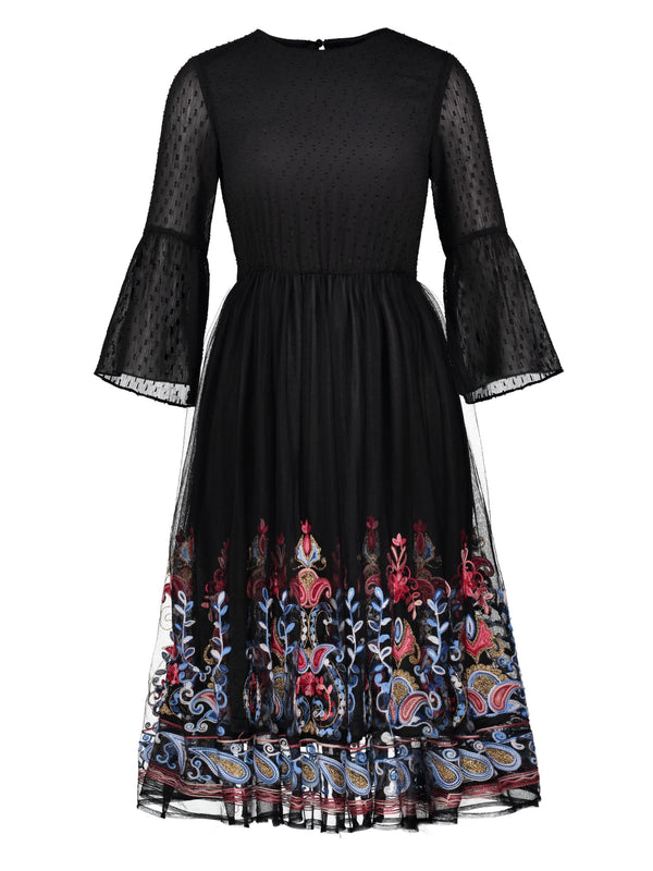 Round Neck Long Sleeve Embroidery A-Line Regular Dress