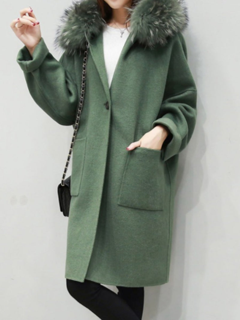 Pocket One Button Loose Hooded Mid-Length Overcoat