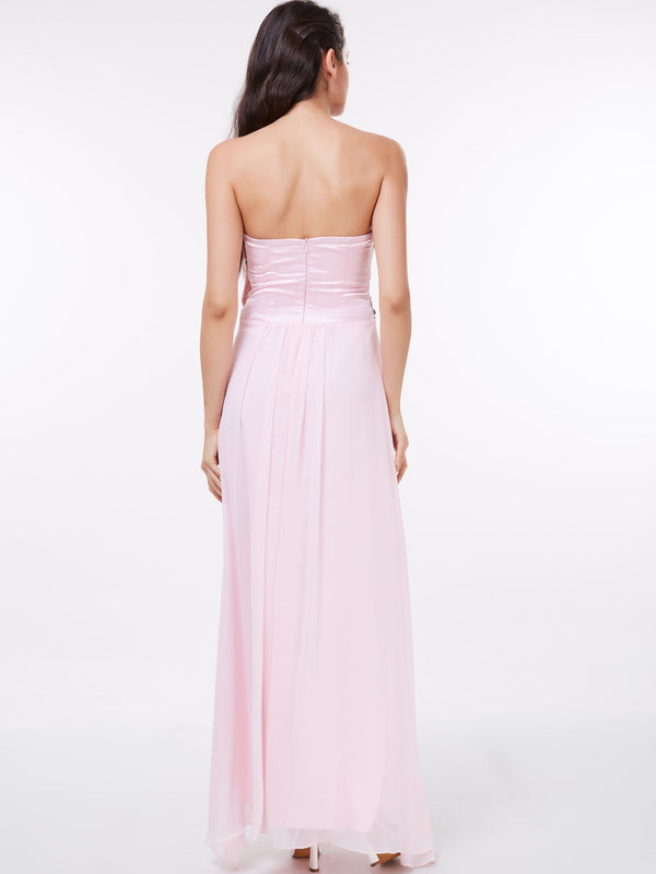 Size US8 A-Line Pleats Sleeveless Floor-Length Evening Party Dress