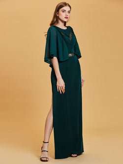 Scoop Green Half Sleeves A-Line Formal Party Dress