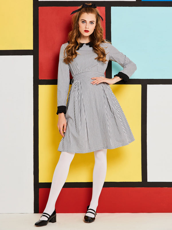 Long Sleeve Knee-Length A-Line Zipper Dress