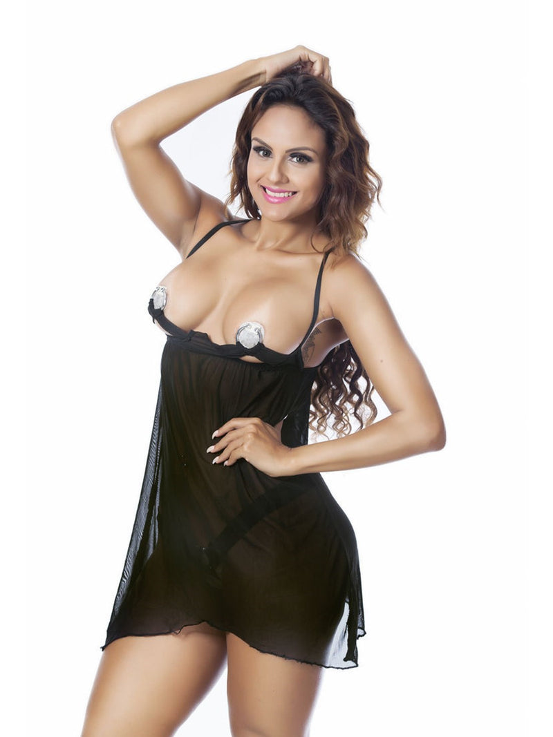 Mesh Three-Point Plain Spandex Corset Costume Babydolls