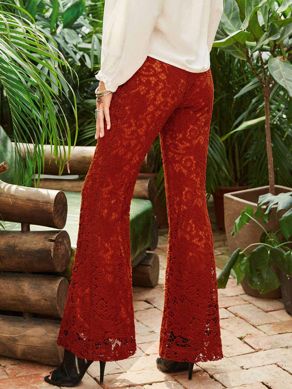 Size L Slim Plain Hollow Bellbottoms Full Length Casual Pants
