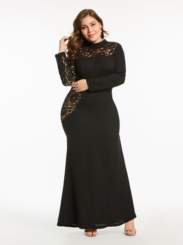 Size L Long Sleeve Round Neck Ankle-Length Regular Trumpet Dress