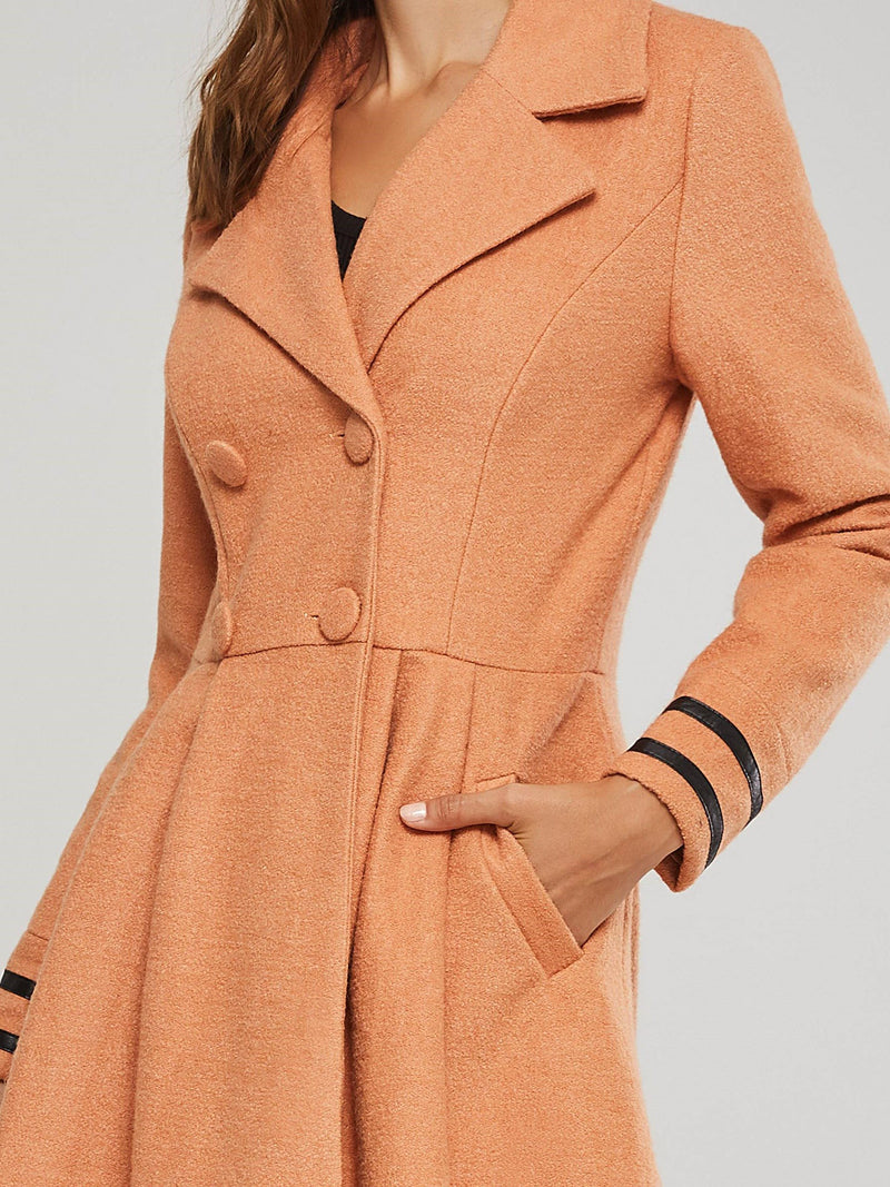 Regular Double-Breasted Slim Notched Lapel Long Overcoat