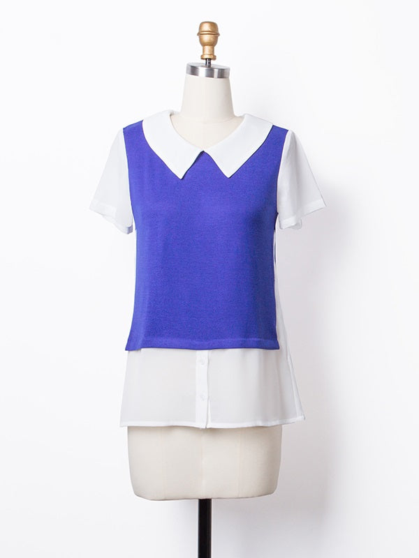 Short Sleeve Peter Pan Collar Above Knee Fall Regular Casual Dress