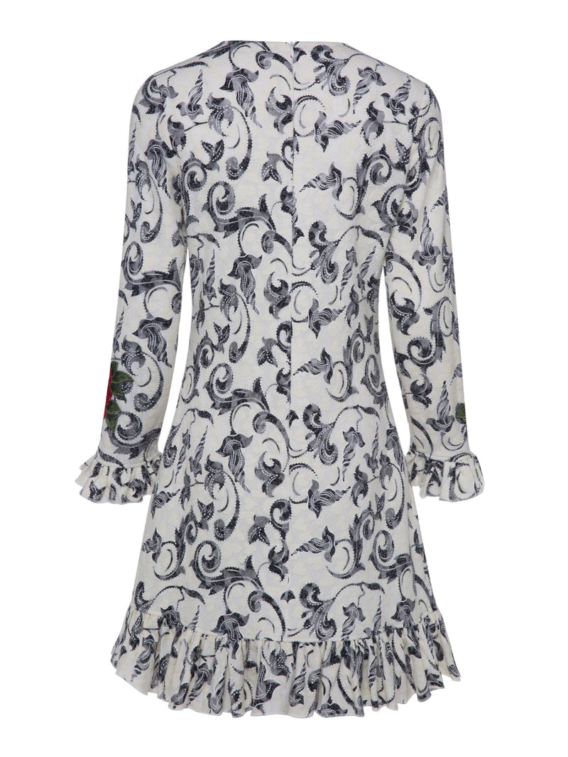 Size M Print Long Sleeve Round Neck A-Line Zipper Dress