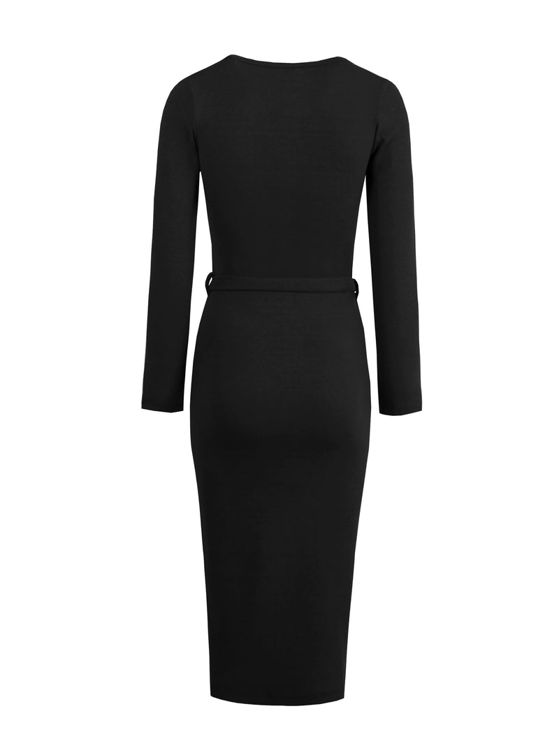 Long Sleeve Round Neck Mid-Calf Modern Bodycon Dress
