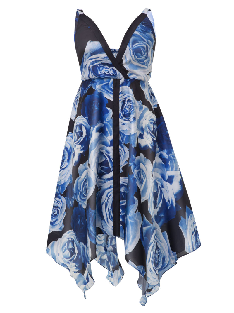 Plus Size XL 2XL Mid-Calf Sleeveless Backless Floral Asymmetrical Dress