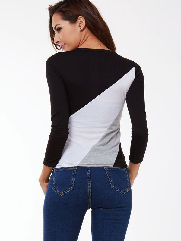Size L Color Block Standard Long Sleeve Slim T-Shirt