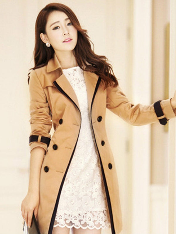 Size S Double-Breasted Button Mid-Length Slim Winter Trench Coat