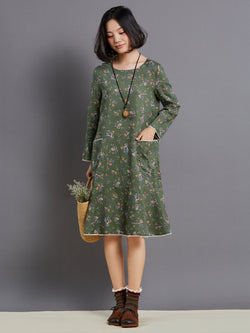 Size S Long Sleeve Print Round Neck Floral Petite A-Line Dress