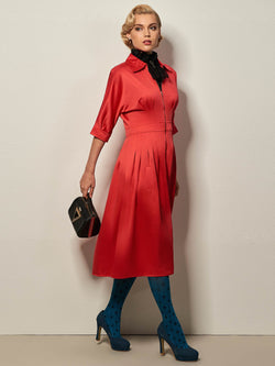 Half Sleeve Knee-Length Polo Neck Plain Fall Dress
