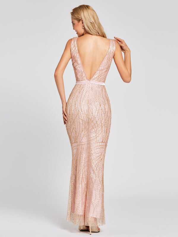 Trumpet/Mermaid Floor-Length Scoop Lace Evening Party Dress