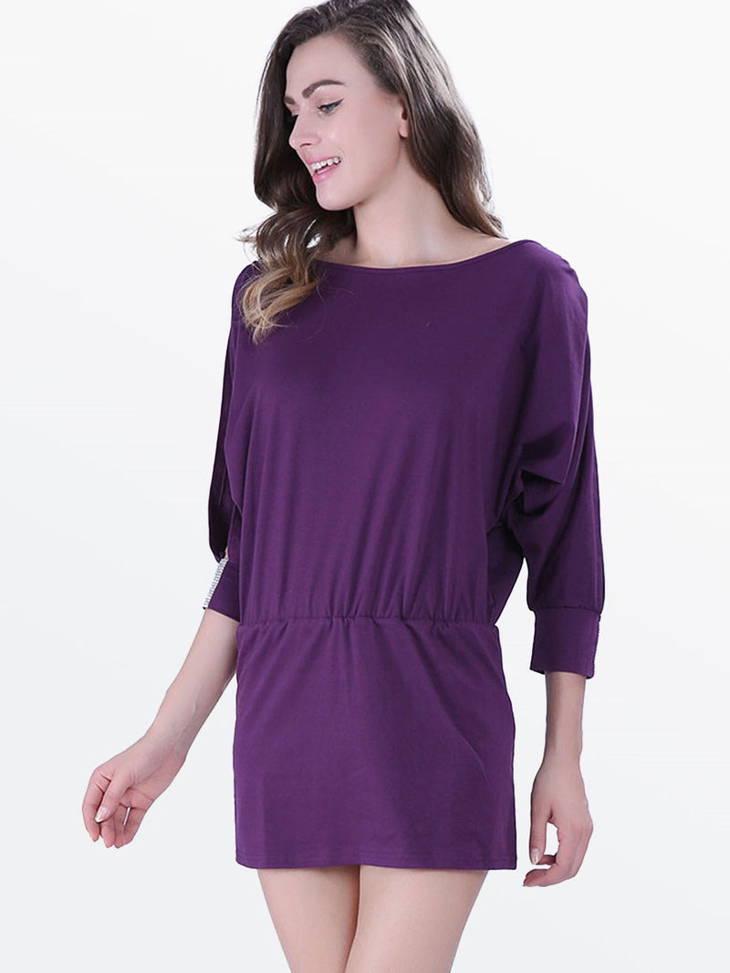 Round Neck Above Knee Half Sleeve Flare Sleeve Mid Waist Dress