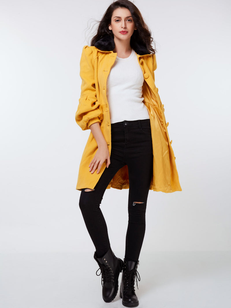 Single-Breasted Lantern Sleeve Slim Winter Mid-Length Overcoat