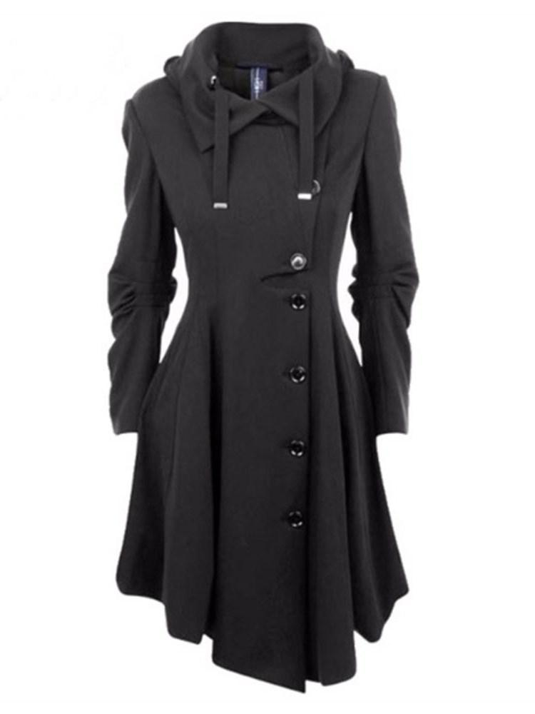Button Single-Breasted Regular Winter Long Overcoat