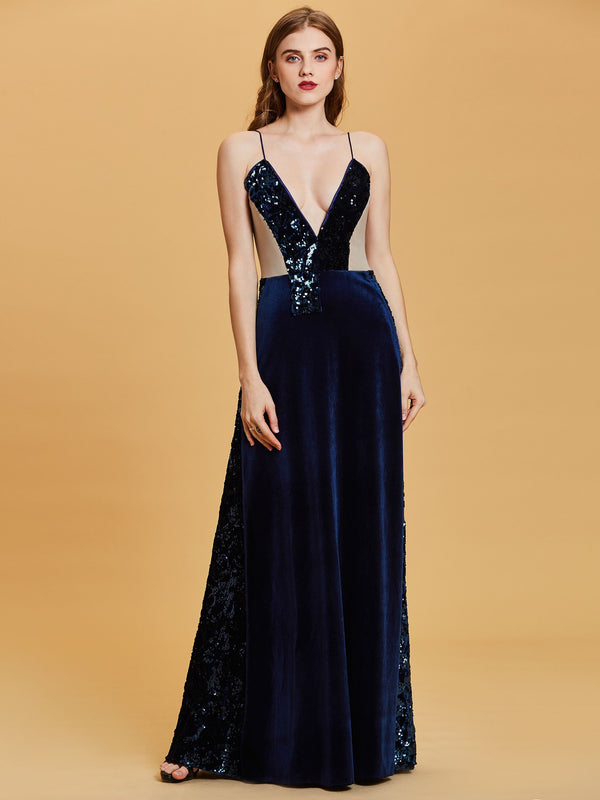 A-Line Spaghetti Straps Sleeveless Blue Evening Party Dress