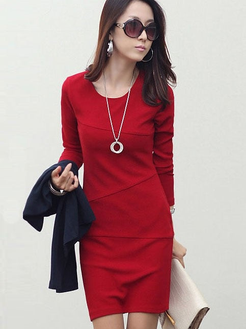 Size XL Apricot Long Sleeve Above Knee Sheath Plain Bodycon Dress