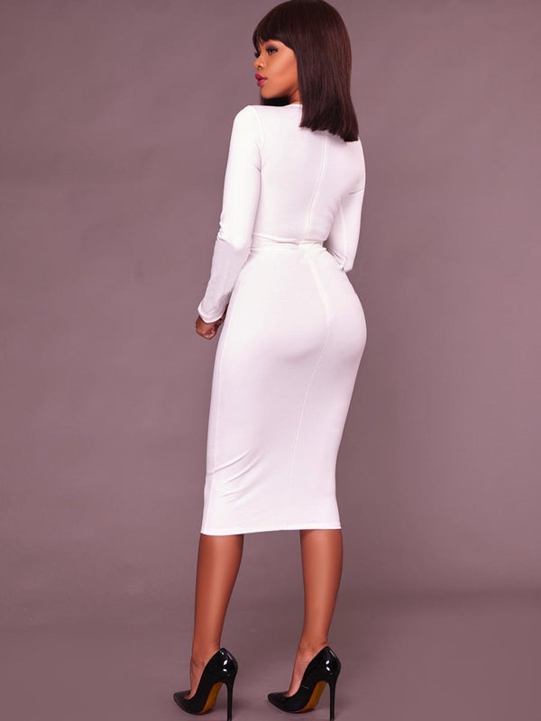 Size L Long Sleeve Oblique Collar Diamond Regular Bodycon Dress
