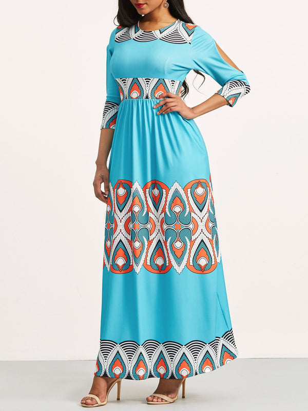 Size L Ankle-Length Long Sleeve Hollow Zipper Ethnic Dress