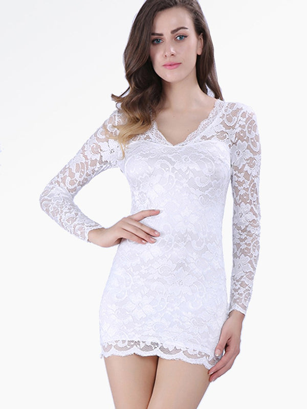Size L White Mesh V-Neck Long Sleeve Summer Bodycon Dress