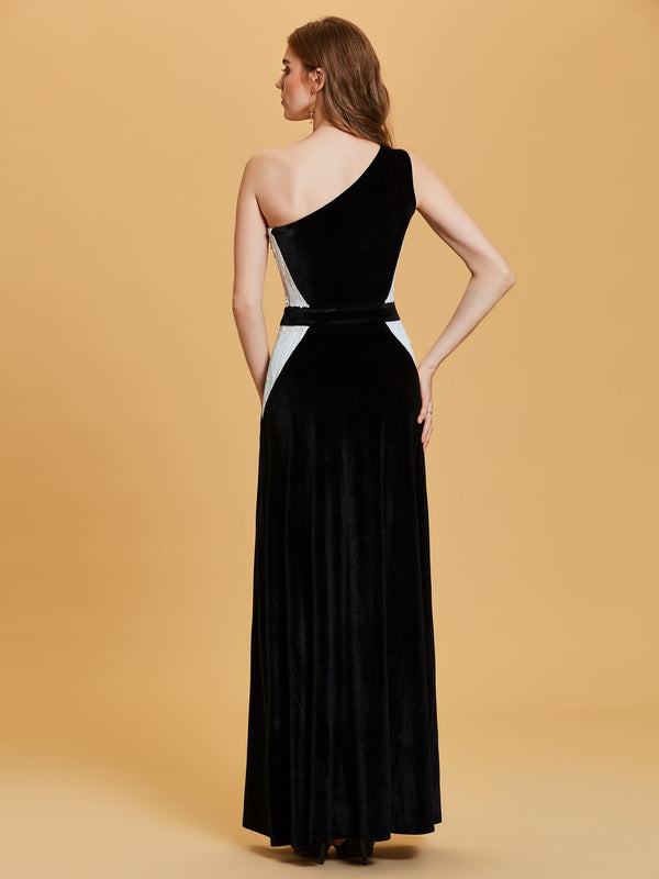 Sequins A-Line Multi Color Floor-Length Evening Party Dress