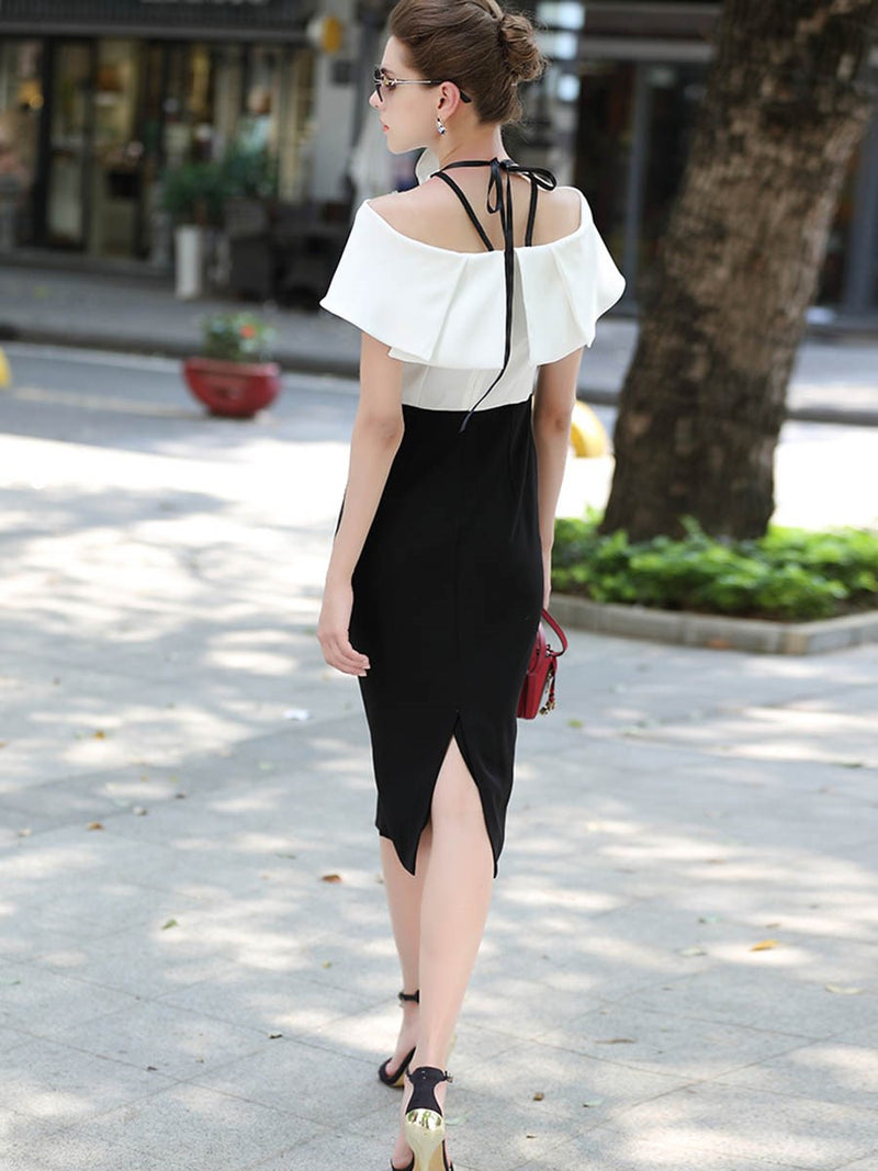 Mid-Calf Short Sleeve Off Shoulder Color Block Pullover Dress