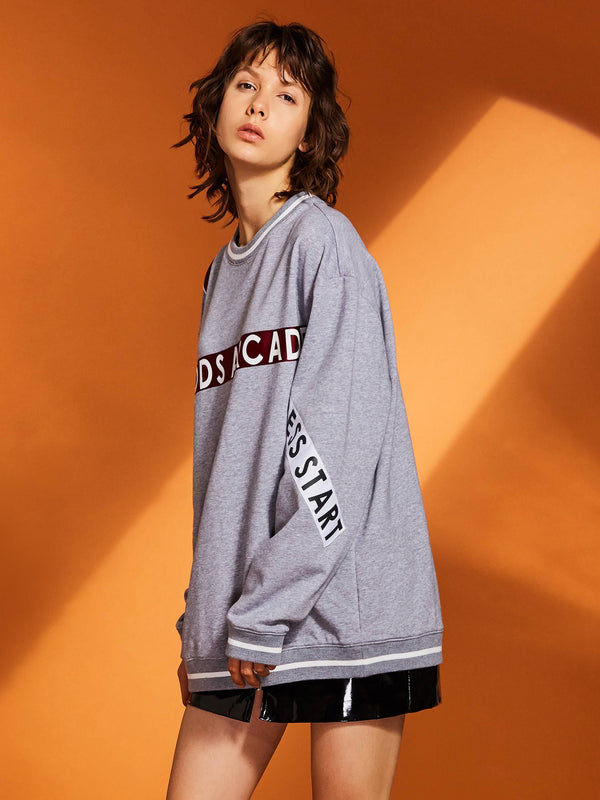 Size M Patchwork Letter Mid-Length Round Neck Hoodie